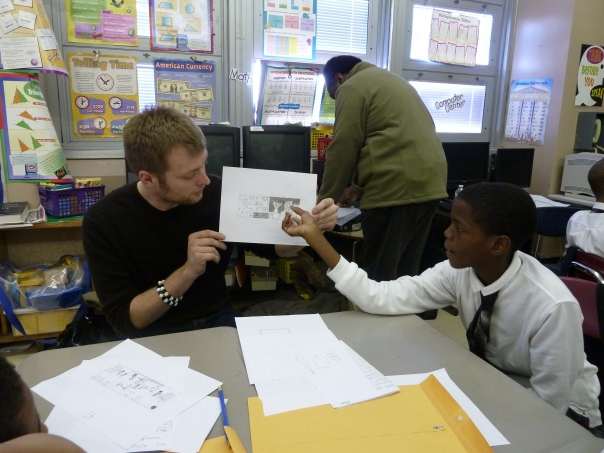 Dr Matt Finch with Behind the Book's Comic Workshop in Brooklyn, NYC