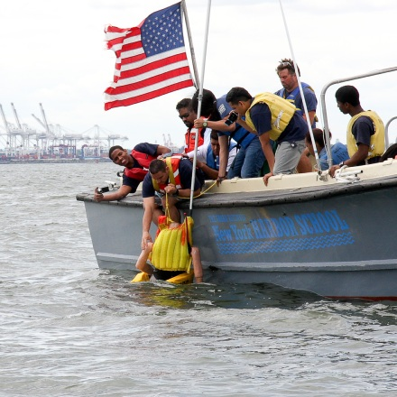 Harbor School students at work in the waters of NYC