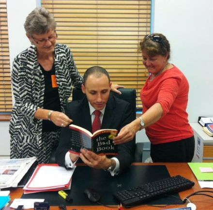 Barbie Bates and Rhonda Brain of Paint the Town REaD visit David Bradbury MP in Canberra
