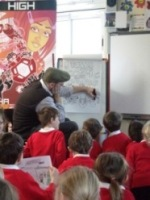 Neill Cameron giving a comics workshop