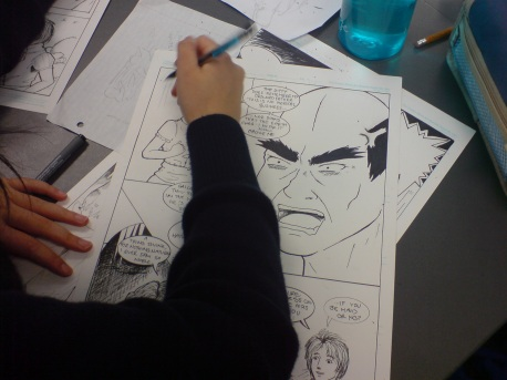 Michelle Bai of Alfriston College drawing her own comic