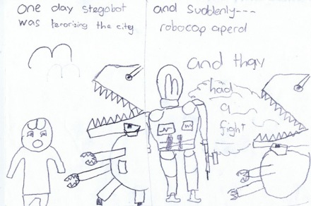 Stegobot versus Robocop - Work from a child at one of Neill's workshops