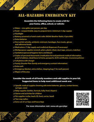 All-Hazards Emergency Kit - CDC - from Zombie Pandemic comic