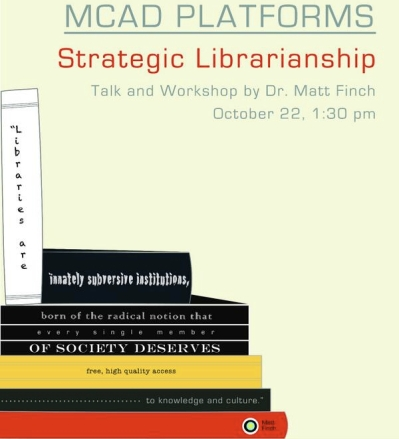 Poster for Matt's talk on librarianship to Manila museum of contemporary art and design