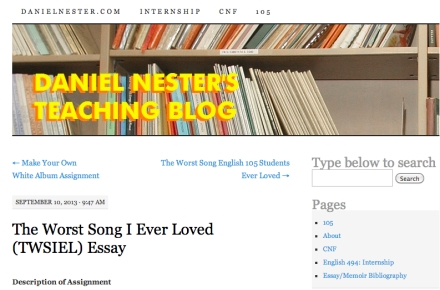 Screengrab from Daniel Nester's teaching blog
