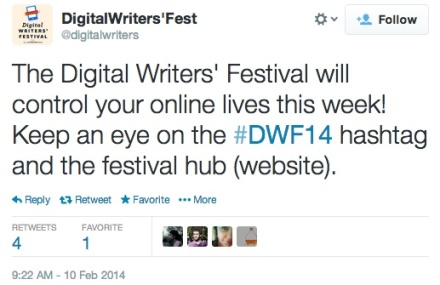 Tweet from Digital Writers Festival