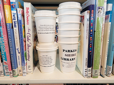 Coffee cups on a shelf at Parkes Shire Library