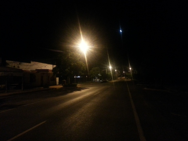 The night time streets of Mungindi, on the border of Queensland and New South Wales