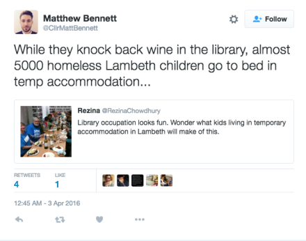 Lambeth councillor Matthew Bennett responds to library lovers' concerns on Twitter