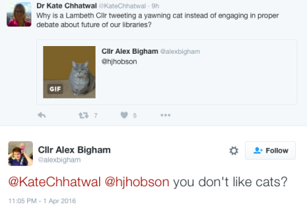 Lambeth councillor Alex Bigham responds to library lovers' concerns on Twitter