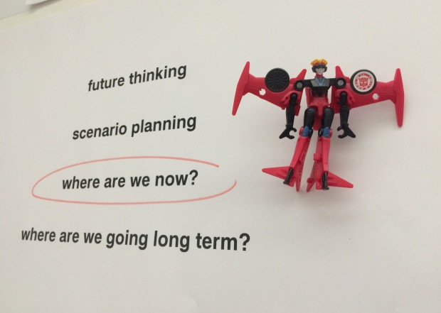 Windblade toy on the planning wall at State Library of Queensland