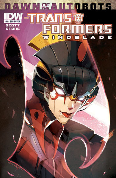 The front cover to an issue of IDW's The Transformers: Windblade