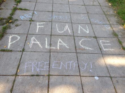 Chalked Fun Palace sign from Brockwell, London