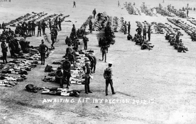 Kit inspection at Enoggera Barracks, 1915