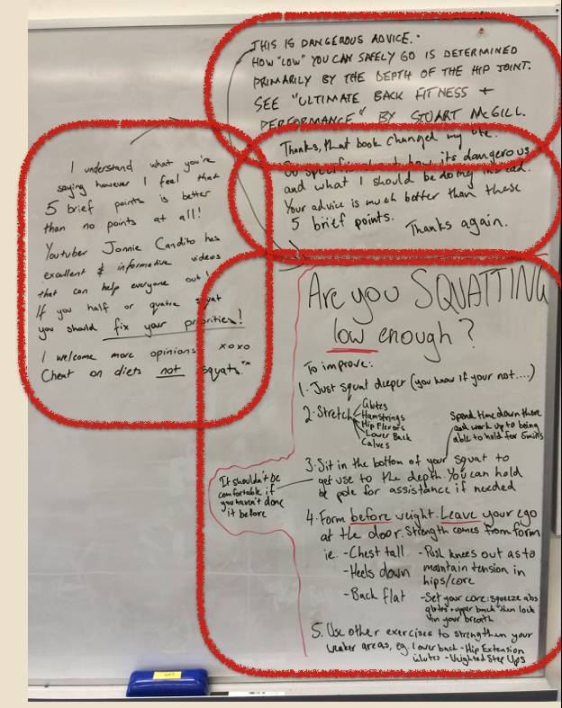 Annotated whiteboard at a Brisbane gym