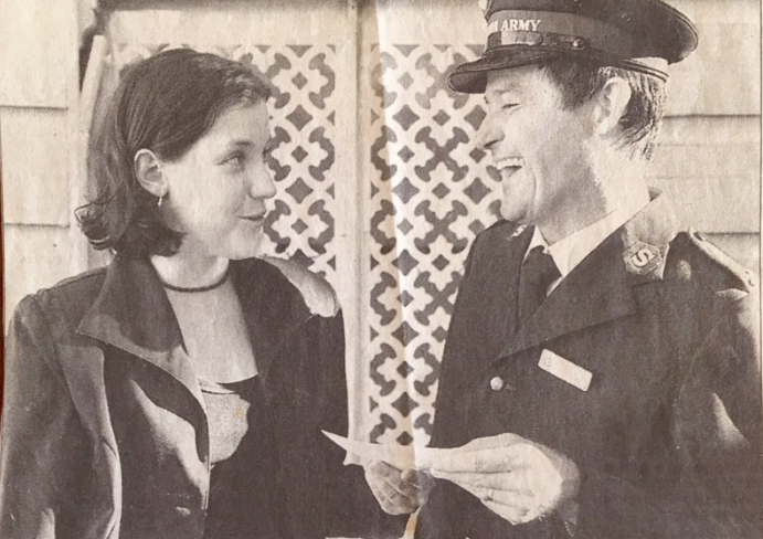 Leanne de Souza with a Salvation Army officer in 90s Queensland