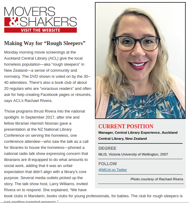 Rachael Rivera in Library Journal's Movers and Shakers 2018 awards