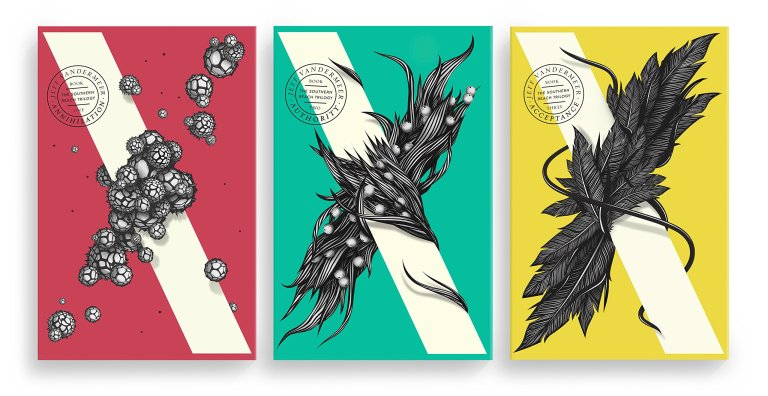 Book covers from Jeff Vandermeer's Southern Reach trilogy.