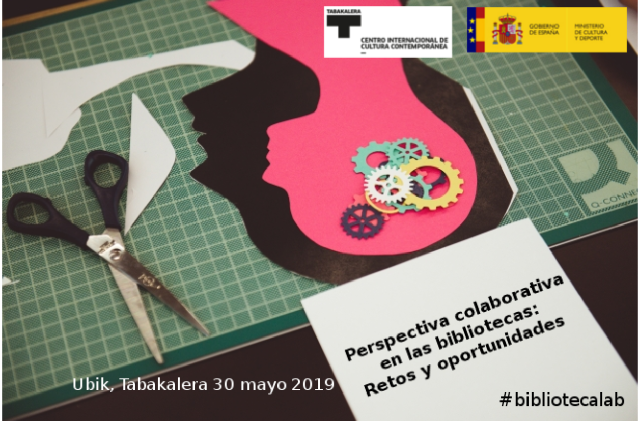"Poster for the ""perspectiva colaborativa"" event in Spain, showing scissors and a silhouette of a human head full of gears on a cutting board"