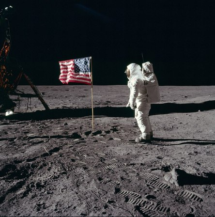 Buzz Aldrin salutes the US flag on the surface of the moon during the Apollo 11 mission