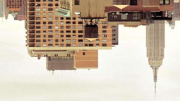 Inverted Manhattan skyline from the cover of Fleishman is in Trouble