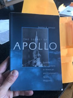 My well-thumbed copy of The Secret of Apollo, littered with Post-It notes for reference