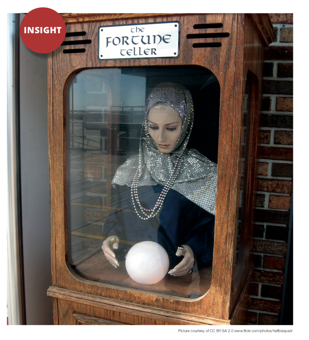 "Picture of a mechanical fortune teller from CILIP's Information Professional Magazine, captioned with the word ""insight"""