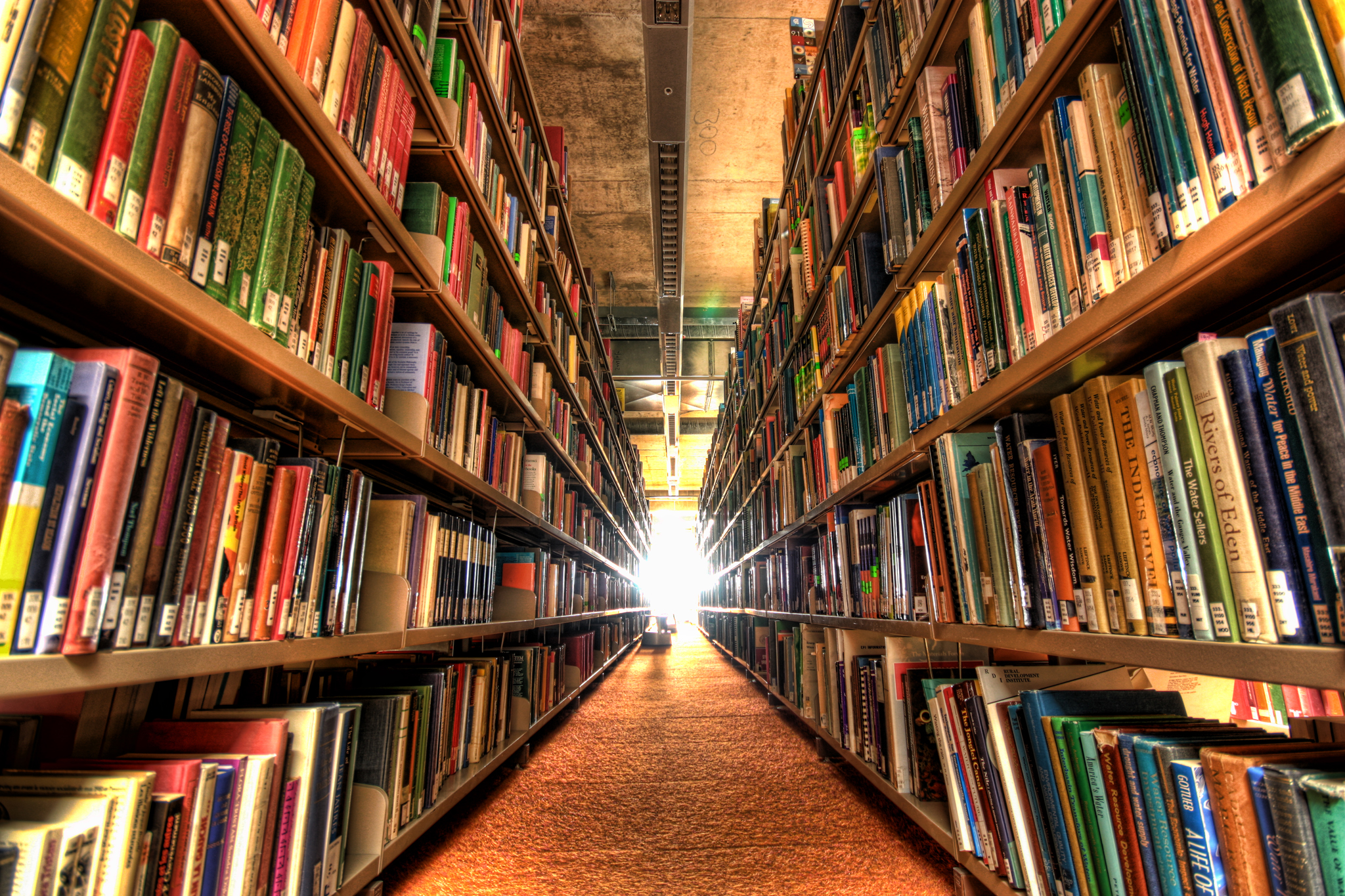 Photograph of a long corridor of bookshelve apparently stretching off endlessly into a white light at the vanishing point